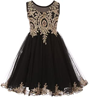 49f86e7d1fc Sleeveless Satin Gold Coiled AB Rhinestones Lace Tulle Girls Dresses