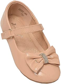 Little Girls Nude Rhinestone Bow Mary Jane Shoes 5-8 Toddler