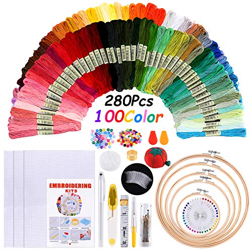 FEPITO 280 Pcs Full Range of Embroidery Kit Including 100 Colors Threads, Needles, Instructions, Embroidery Bamboo Hoops, Aida Cloth, Cross Stitch Tool Kit for Beginners with Packing Bag