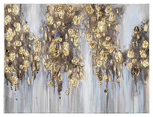 Ashley Furniture Signature Design - Donier Abstract Wall Art - Contemporary Glam - Blue/Gold Finish