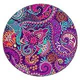 LB Mandala Tapis Rond Inde Fleurs Intérieur Absorbant Souple Carpette pour Salon...