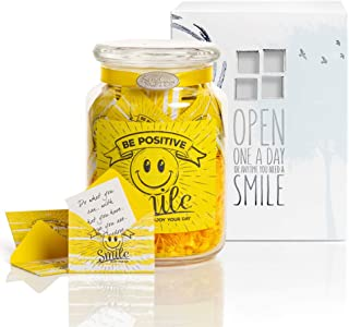 KindNotes Glass Keepsake Gift Jar with Friendship and Inspirational Messages - Be Positive
