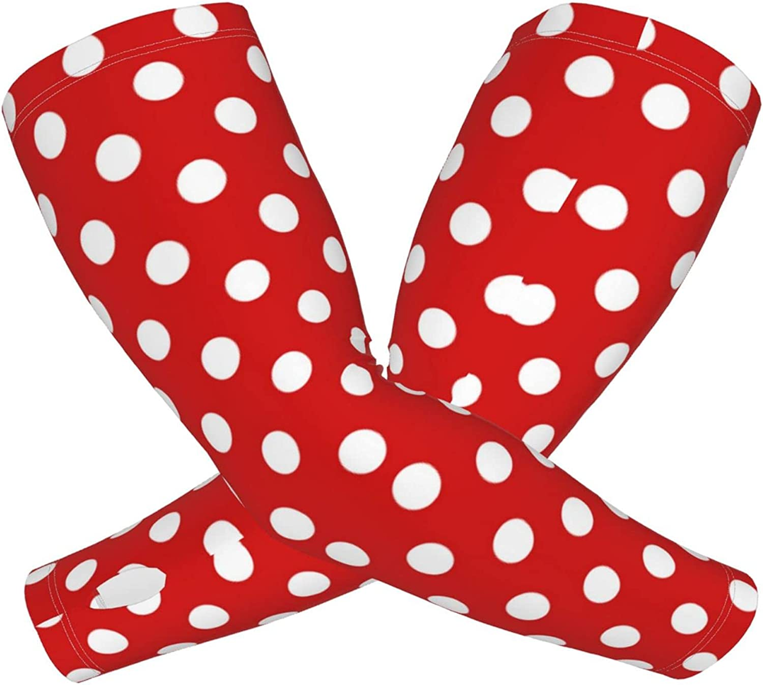 Unisex Sports Cooling Sleeves Fingerless Gloves Red White Polka Dot Sun Protection Arm Sleeves With Thumb Holes