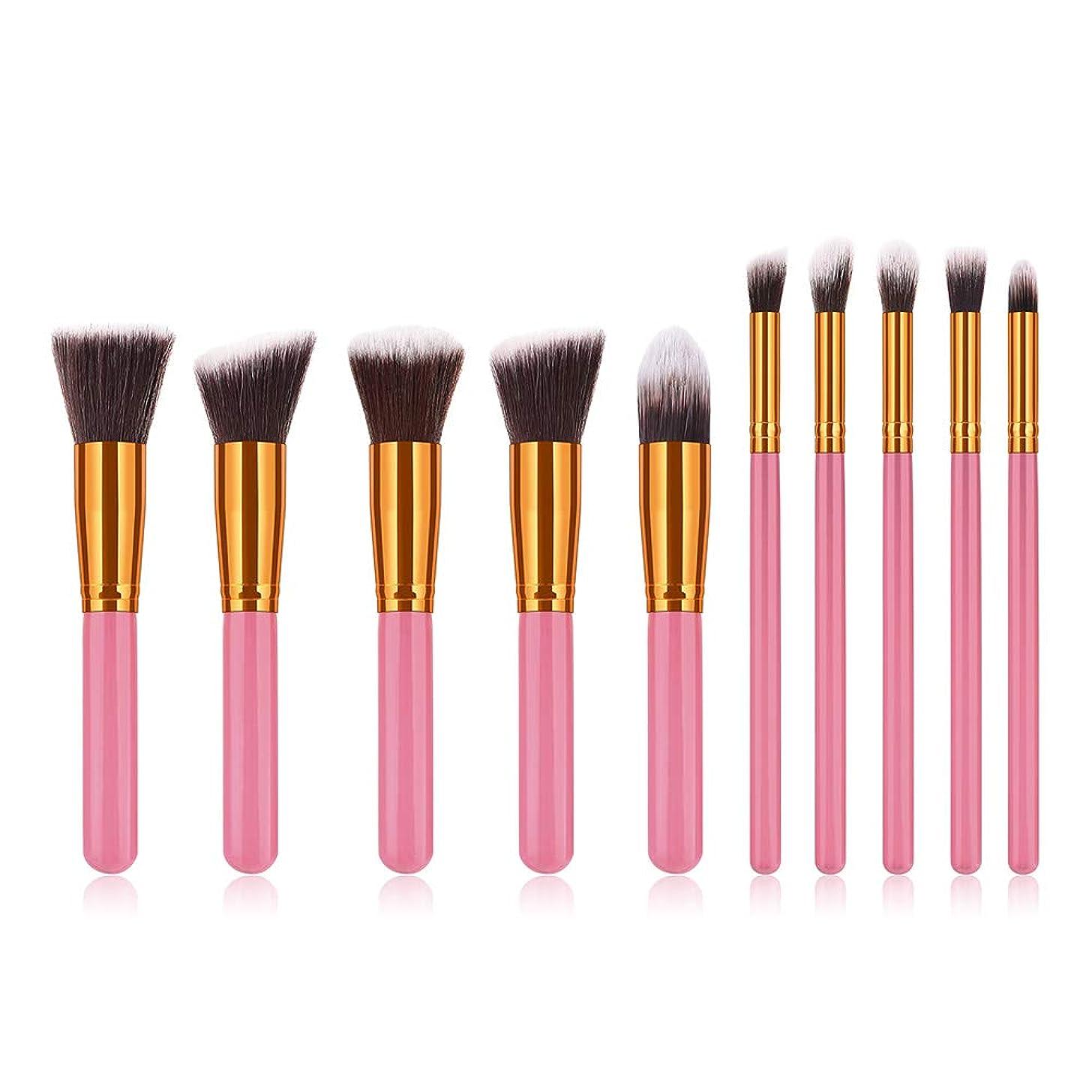 貨物マーチャンダイザー改革Echana 10本 ブラシセット ファンデーション ブラシ 高級 柔らかい 化粧筆 ピンク