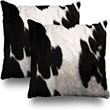 Cow Set of 2 Decorative Pillow Covers,18x18 inch Throw Pillow Covers, an Image of Real Black and White Hide Pattern Double...