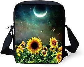 UNICEU Sunflower Moon Starry Sky Print Small Messenger Bag Shoulder Crossbody Bags Purse for Kids Teen Girls Women