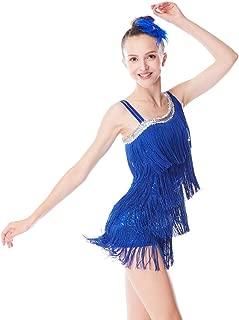 Dance Costume Fingure Skating Dress Sequins Leotard with 4-Tires Tassle Dress for Girls