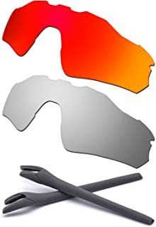 HKUCO For Oakley Radar EV Path Red/Silver Polarized Replacement Lenses And Grey Earsocks Rubber Kit