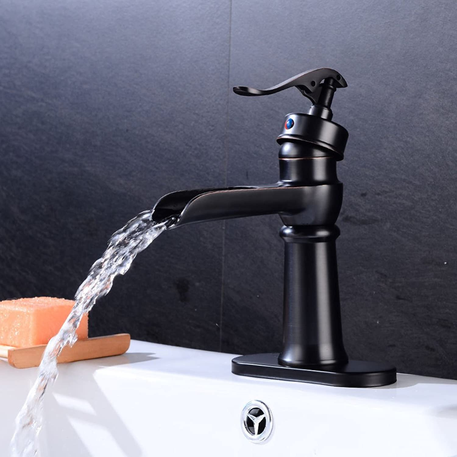 ZXY Bathroom Sink Taps European bathroom antique waterfall faucet single handle hot and cold mixed faucet single hole washbasin faucet