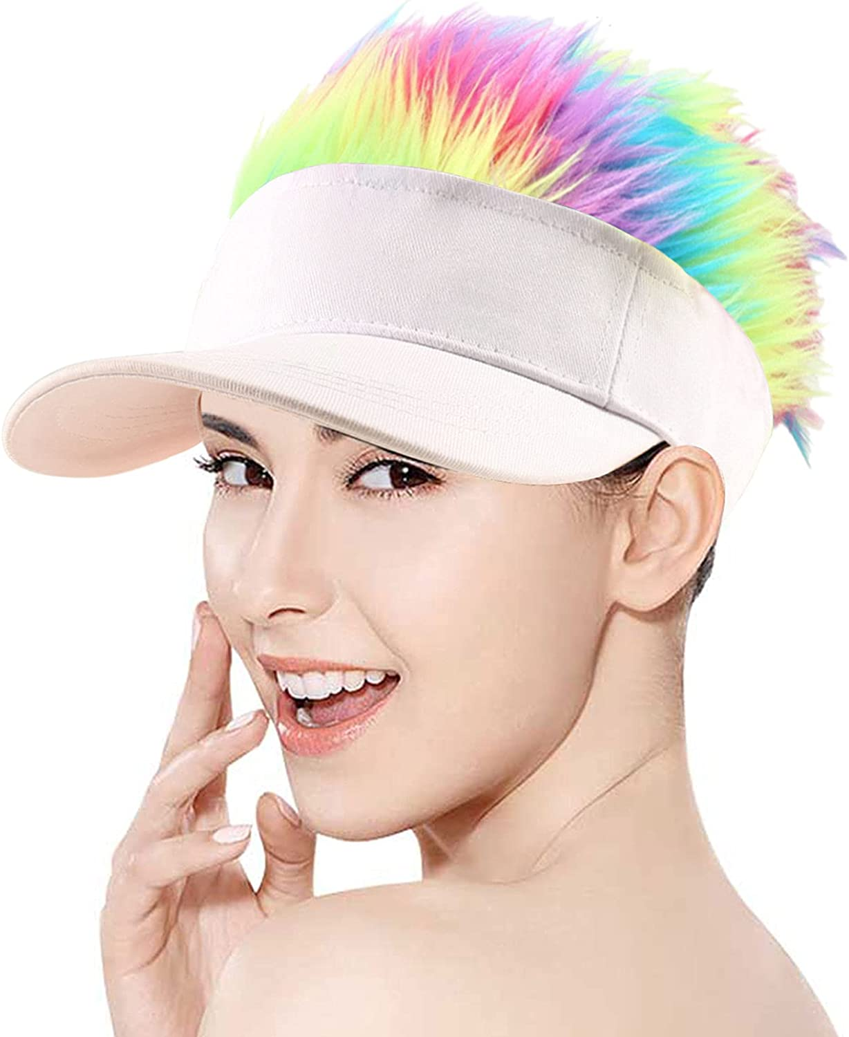 Regilt outlet Adjustable Sun Visor Hat with Wig Spiked Max 52% OFF Fashion Ba Hairs