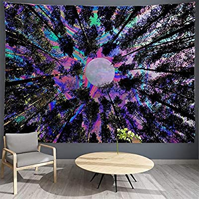 """PROCIDA Trippy Tapestry Psychedelic Moon Tapestry Forest Colorful Wall Tapestry for Dorm Bedroom Living Room College Nails Included 60"""" W x 51"""" L,Trippy Tree"""