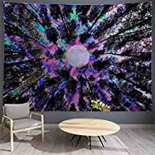 PROCIDA Trippy Tapestry Psychedelic Moon Tapestry Forest Colorful Wall Tapestry for Dorm Bedroom Living Room College Nails Included 80