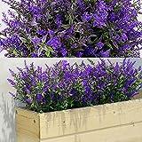 12 Manojos Arbustos Artificiales Lavanda Verde Artificial Flores Artificiales Plantas Resistentes a Rayos UV de Exterior para Arreglo Floral, Centro de Mesa, Decoración Jardín (Morado)