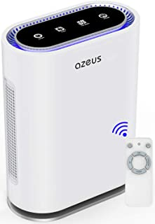AZEUS True HEPA Air Purifier for Home Smokers Allergies and Pets Hair, Up to 540 Sq.Ft 6-in-1 Air Cleaner & Filter Deodorizer, Quiet in Office Large Room, Removes Odors Dust Pollen Mold Bacteria