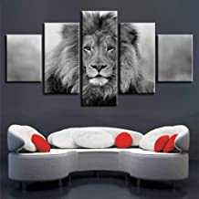 HIOJDWA Paintings Black and White Animals Modular Canvas Pictures Art 5 Pieces Lion Poster Decor Living Room Wall Hd Printing Paintings Framework