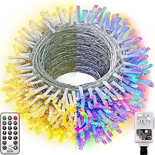 Hezbjiti 720 LED Guirnalda Luces Cadena de Luz, 100m 11 Modos Luz de Hadas 4 Colores el Cambio con Mando y Timer,Impermeable Guirnalda luminosas para Fiestas Boda Balcón Casa Arbol de Navidad Jardín