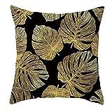 Beydodo Cojin Sofa,Patrón de Hojas,Funda Cojines 40 x 40 para Exteriores Funda Cojines Decorativos para Sofa Negro Amarillo