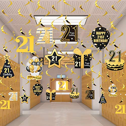 Kauayurk 21st Birthday Hanging Swirls Decorations for Women Men, 30pcs 21 Year Old Birthday Party Swirl Ceiling Decoration Supplies, Gold Happy 21st Birthday Hanging Decor Sign