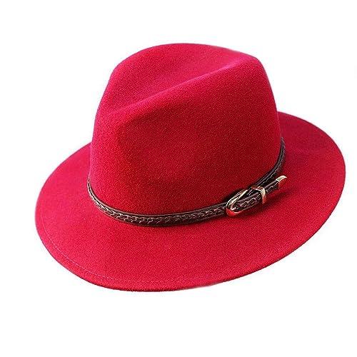 957271e5401 Anycosy Wool Fedora Hat Women s Felt Panama Crushable Vintage Style with  Leather Band