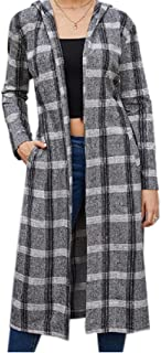 Howely Womens Peacoat Winter Fall Sanding Longline Plaid Cardigan Coat