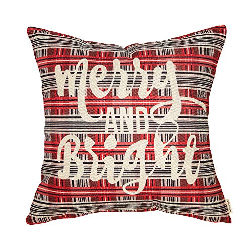 Fahrendom Christmas Sign Merry and Bright Retro Farmhouse Gift Winter Holiday Buffalo Plaid Cotton Linen Home Decorative Throw Pillow Case Cushion Cover with Words for Sofa Couch 18 x 18 in