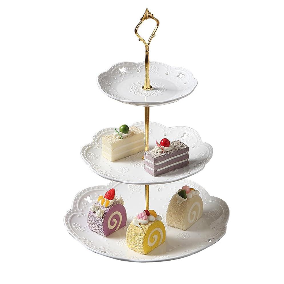 磁石救出クラシックYBK Tech 北欧の風 3段ケーキスタンド 強化磁器 デザートプレート アフタヌーンティー (白い皿+ ゴールデンロッド)