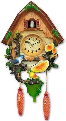 HONGNA Retro Minimalist Creative Cuckoo Pendulum Clock Children Cartoon Wall Clock Home Bedroom Silent Wall Clock