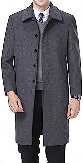 FASHINTY Men's Classical France Style Single Breasted Wool Coat Windbreaker #00153