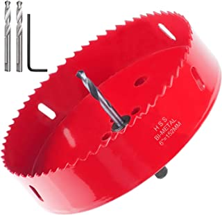 Acrux7 6 Inch Hole Saw for Making Cornhole Boards - Heavy Duty Steel / Bi-Metal Cornhole Drilling Cutter with Hex Shank Drill Bit Adapter for Cornhole Game (Red)