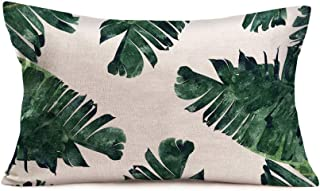 Aremetop Palm Leaves Pillow Covers Decorative Cotton Linen Realistic Vivid Leaves of Palm Tree Tropical Hawaii Green Plant Throw Waist Pillow Case Cushion Cover for Home Sofa Decor 12x20 Inches