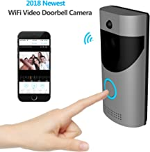 KAMRE Smart Wireless Video Doorbell, HD 720P Home Security Camera with Free Cloud Services/166° Wide Angle/Real-Time Two-Way Talk and Video/PIR Motion Detection/Night Vision, Built-in Two Batteries