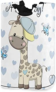ZOMOY Grand Organiser Paniers pour Vêtements Stockage,Shower de bébé avec Girafe garçon Dessin animé Mignon,Panier à Linge...