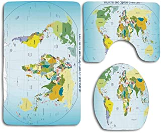 MEWSGK Toilet seat Cover, Personalized 3PCS Non Slip Toilet Seat Cover Rug Bathroom Wanderlust Decor World Map with Countries and Capital Cities of The Earth with Oceans and Lakes Graphic Art