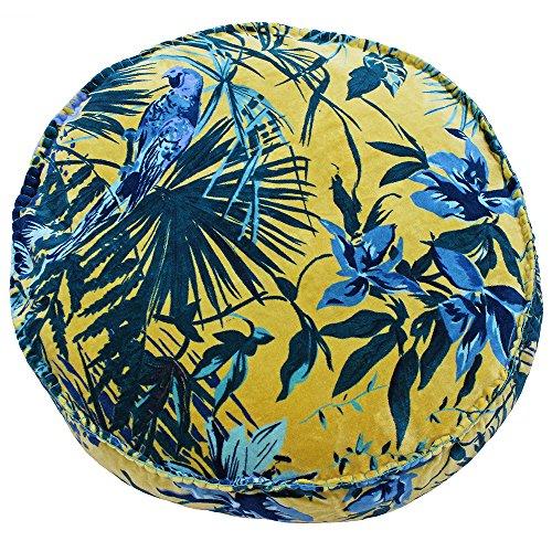 Paoletti Amazon Jungle - Funda de cojín Redonda, algodón, Azul, 50x12cm