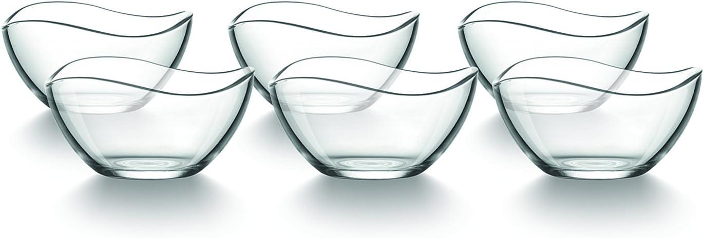 Tamirei-Design Juego de 6 cuencos de postre, cuencos pequeños de cristal, cuencos para helado con borde curvado, para servir o como decoración con vela de té.