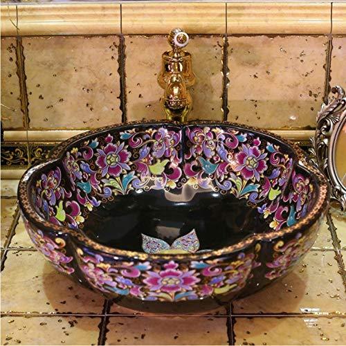 LLLYZZ Europa Vintage Style Art Porzellan Aufsatzbecken Waschbecken Handgefertigte Keramik Bad Schiff Sinkt Eitelkeiten Bunte Keramik waschbecken