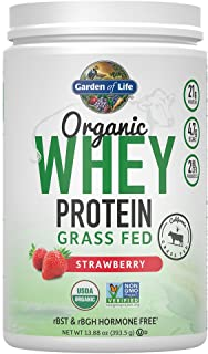 Garden of Life Certified Organic Grass Fed Whey Protein Powder - Strawberry, 12 Servings, 21g California Grass Fed Protein...