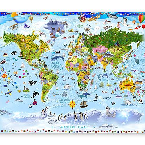 murando Fototapete selbstklebend Weltkarte für Kinder 294x210 cm Tapete Wandtapete Klebefolie Dekorfolie Tapetenfolie Wand Dekoration Wandaufkleber Wohnzimmer e-A-0102-a-a