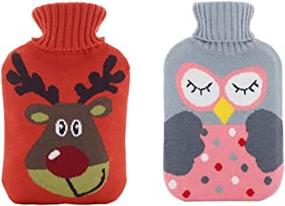 2 Pieces Rubber Hot Water Bottle Warmer with Removable Knit Cover 2 Liters Hot Water Bottle fit for Pain Relief Hot and Co...
