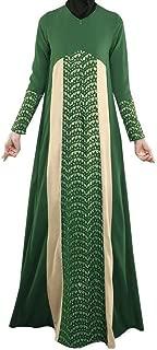 Women's Long Sleeve Thobe Lace Muslim Patchwork Arab Long Dress