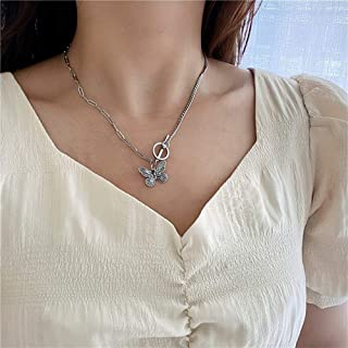 YERTTER Vintage Single Toggle Butterfly Pendant Tiny Chain Necklace Boho Jewelry Chain for Women and Girls