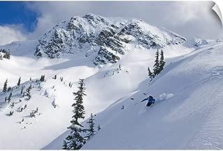 CANVAS ON DEMAND Skier Shredding Powder Below Nak Peak, Cascade Mountains, BC, Canada Wall Decal, 18