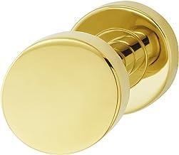 JUVA Design huisdeur-knop messing deurbeslag roestvrij staal deurknop vast op ronde rozet - LDK 211 | goud-look PVD-gecoat...