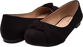 Luoika Women's Wide Width Flat Shoes - Comfortable Slip On Round Toe Suede Ballet Flats.