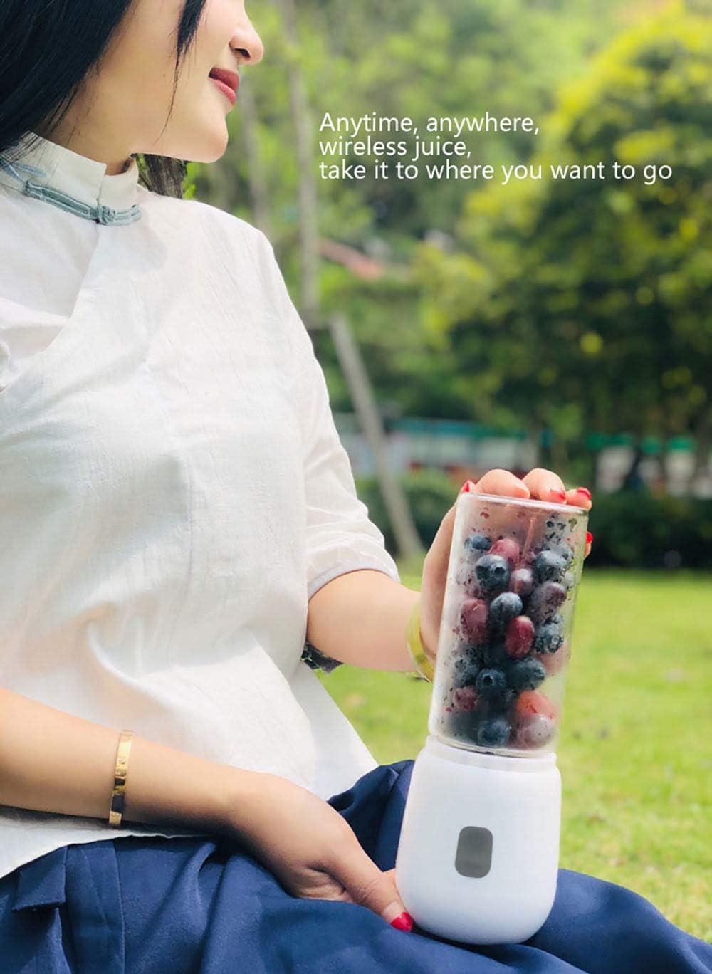 Exprimidor, mini Exprimidor taza eléctrica máquina de jugo de frutas estudiante hogar pequeño multifunción portátil recargable,White Blanco