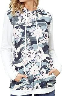 Discount Boutique Sudadera para Mujer Sudadera con Capucha de Manga Larga Estampado Informal Camuflaje Media Cremallera Sudadera con Capucha de Moda Suave Chaqueta con Bolsillo