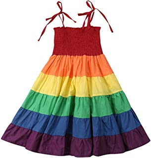 Toddler Baby Kid Girls Spaghetti Strap Rainbow Pageant Party Beach Maxi Dress Sunsuit