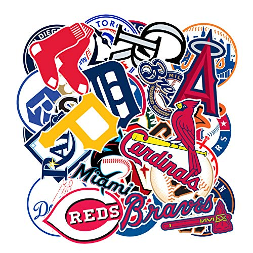 30Pcs Baseball Team Logo Waterproof Stickers for Laptops Books Cars Motorcycles Skateboards Bicycles Suitcases Skis Luggage Hydro Flasks etc JX