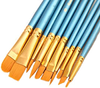 10 Pieces Synthetic Hair Paint Brush Set, Blue, for Acrylic, Oil and Watercolor Painting (1 Set)