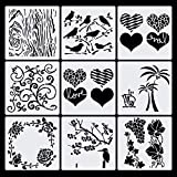 Haosell Pochoirs de dessin pour enfants - En plastique - Journal - Accessoires - Pochoirs - Motif oiseau, arbre, fleurs, raisin, cœur - Pour scrapbooking, album photo, cartes cadeaux